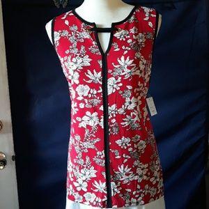 🆕️ NWT Liz Claiborne red floral grommet tank top